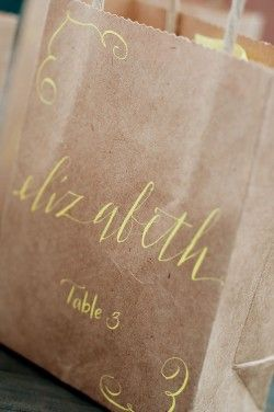 Calligraphy on craft paper bag