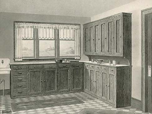 Unpainted historical kitchens not all 1900 1920 s for Modern 1920 s kitchen