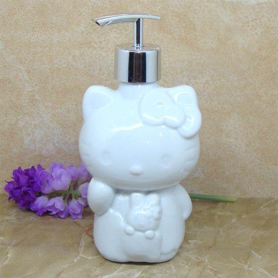 Hello kitty pattern ceramic 400ml shampoo dispenser free standing soap dispenser hand sanitizer dispenser $19.67