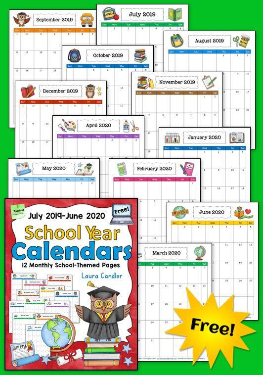 Free School Year Calendar 2019 2020 School Calendar School