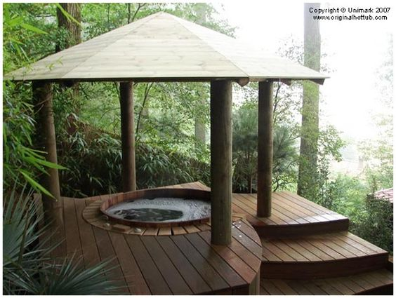Decks the o 39 jays and tropical on pinterest for Diy hot tub gazebo