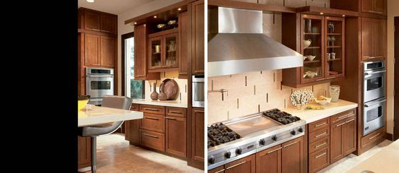 American Woodmark Dark Cabinets In Cherry Spice With