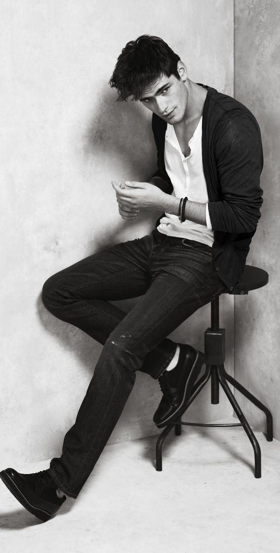 Denim, button-up and cardigan. B/W. | Raddest Men's Fashion Looks On The Internet: http://www.raddestlooks.org: