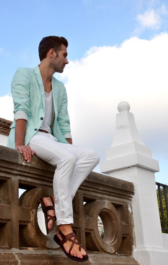 Smart causal wear in Mint Blazer, Grey T-shirt, White Chinos and Brown Leather…