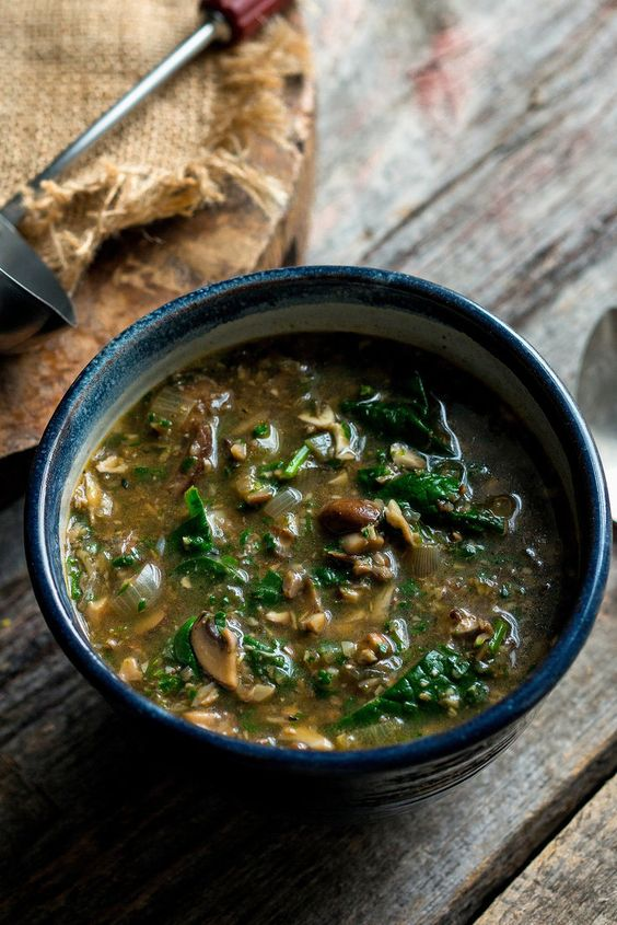 This is a very hearty, chunky soup filled with bits of browned mushroom and silky baby spinach. A combination of sweet and savory spices – cinnamon, coriander and cumin – gives it a deep, earthy richness. (Photo: Andrew Scrivani for The New York Times)