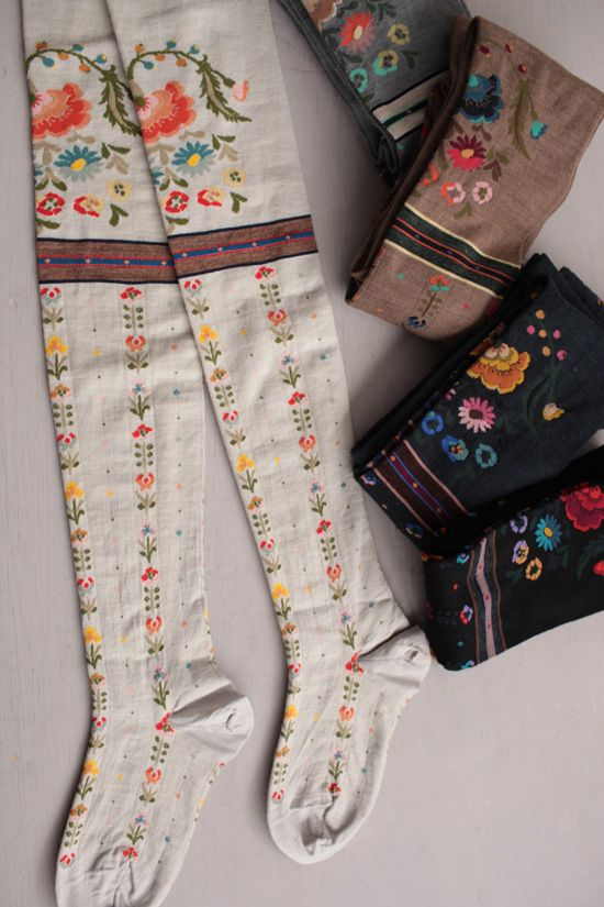 """White, cotton, Over-the-Knee Stockings with floral embroidery (Design: etdemi.ocnk.net- """"The Ethnic Bouquet"""")"""