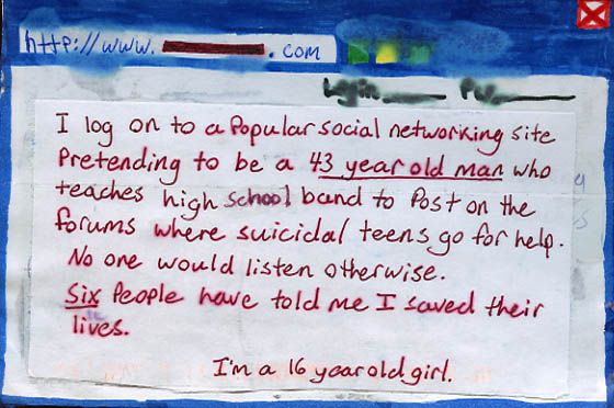 D E C E P T O L O G Y: A postcard on being a fake, from Postsecret