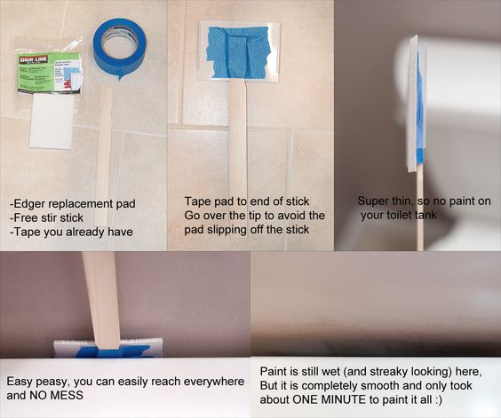 How to paint behind your toilet i 39 ve never painted a bathroom before and it looked awful messy for How to paint a bathroom behind toilet