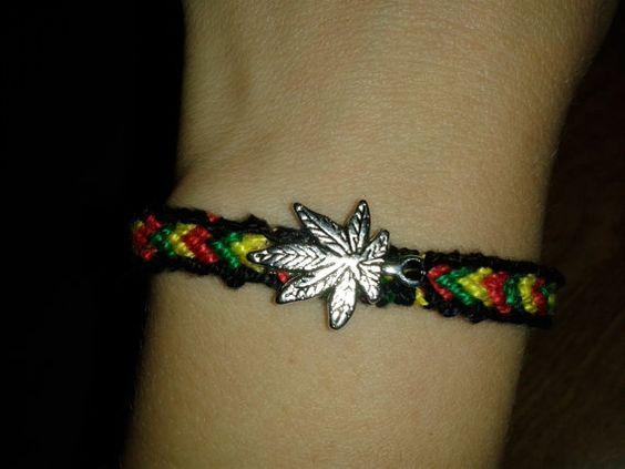 Rasta Color Friendship Bracelet with Marijuana Leaf by SSHOMEMADE: