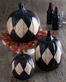 """Ceramic argyle pumpkins for a preppy Halloween! // paint white diamonds on real pumpkins and use black for the """"stitching"""" for the same feel but waaaay cheaper!"""