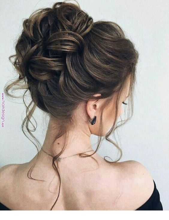 High Bun Updo Wedding Hairstyle With Braids And Messy Tresses For Vintage And Romantic Or Modern Wedding T Hair Designs For Girls Hair Styles Long Hair Styles