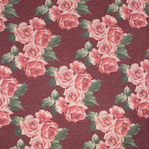 Pink Vintage Roses On Brick Spun Jersey Spandex Blend Knit Fabric Super Soft Brushed Texture Spun Poly Spandex Blend Jersey Knit With A Vintage Look Pink Rose