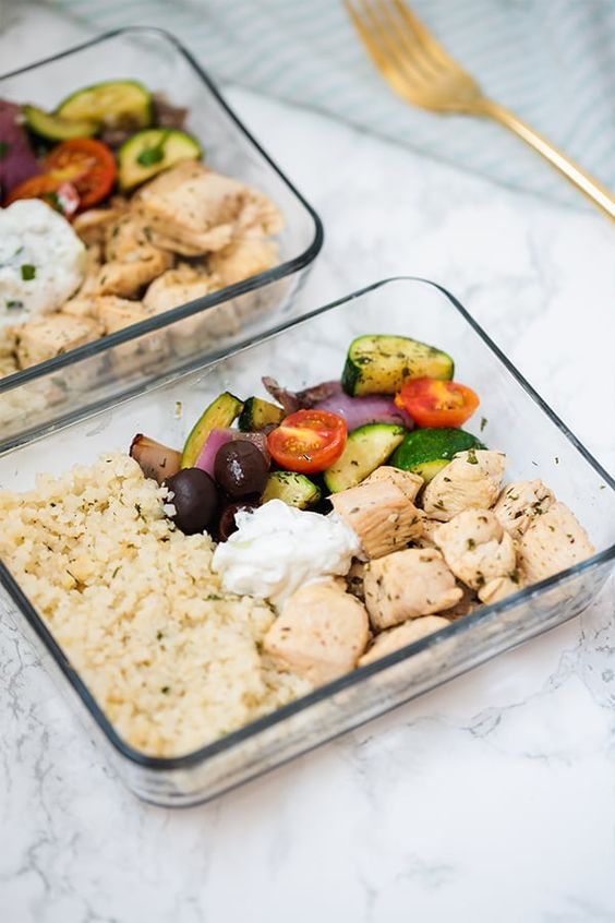 This one-pan greek chicken is the perfect dish for healthy meal prep! It's full of veggies, healthy protein, and features a dairy-free tzatziki. It's paleo, Whole30 compliant, and AIP with modifications. #mealprep #whole30 #paleo