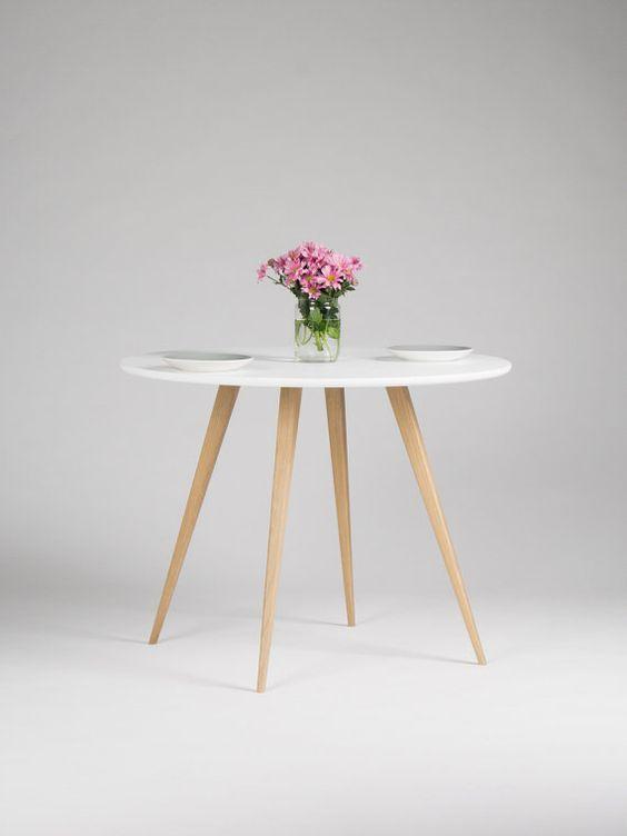 de table blanche, table à manger ronde, table de cuisine, table de ...