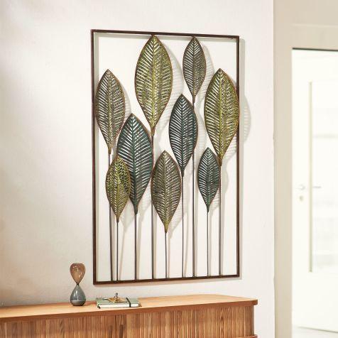 wand deko objekt leaves metall ausgefallene dekoration wohnzimmer wanddekoration goldfarben für badezimmer