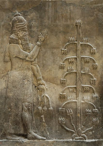 Dur-Sharrukin: relief, genie w/a poppy flower. Palace of King Sargon II. Khorsabad, Iraq, 716–713 BC