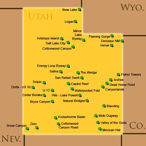 Utah US Attractions Click On The Map Or Select From The List - Utah on the us map