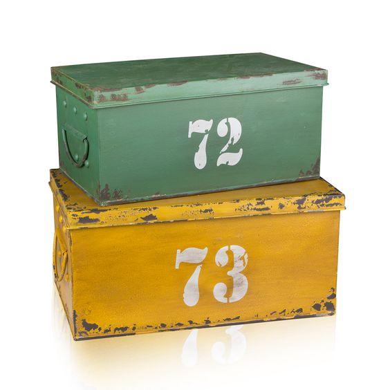 Kempston set van 2 opbergboxen Geel/Groen
