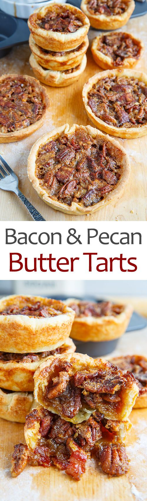 Maple Bourbon Bacon and Pecan Butter Tarts: