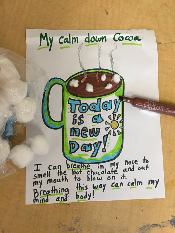 You may have already heard of the technique to help children learn deep breathing by allowing them to imagine smelling hot cocoa then blowing on it to cool it off. I have used this technique with c…:
