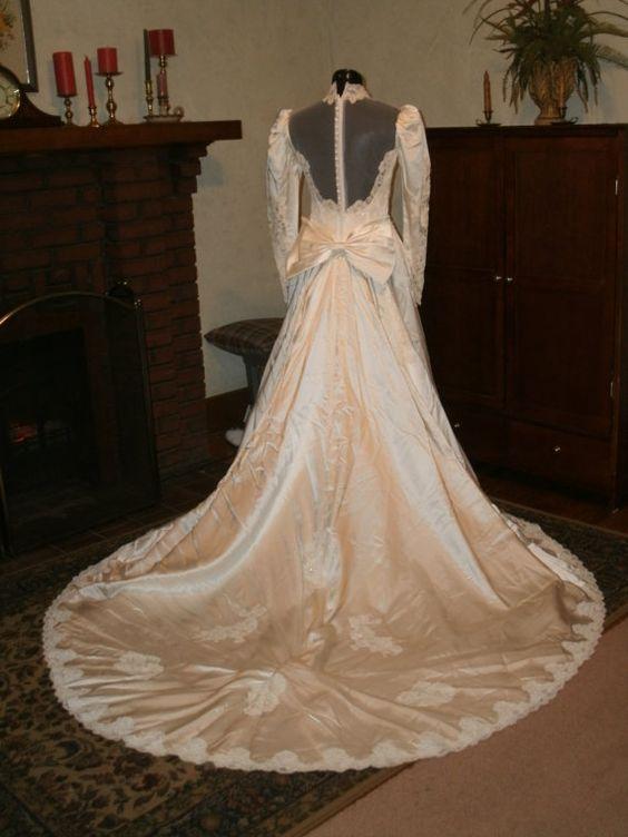 Custom made ivory slipper satin wedding dress gown with by for Slipper satin wedding dress