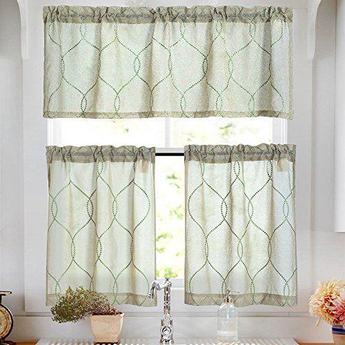 Kitchen Curtain Sets 36 Inch Sage 3 Pcs Moroccan Trellis Pattern