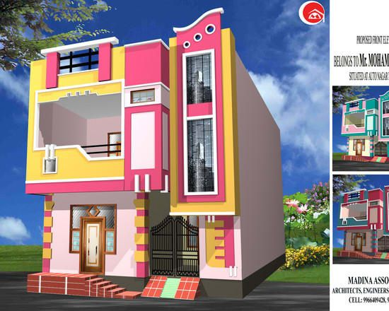 Residential Madina Associates Modern Houses Homify House Front Wall Design Building Front Designs House Design Pictures