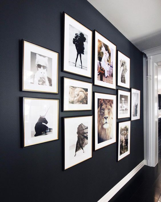 Gallery Wall Ideas To Inspire Dramatic Black Wall I Realized Most Gallery Wall Layouts Hurt My Brain Th Gallery Wall Layout Gallery Wall Photo Wall Gallery