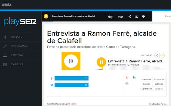 WEBSEGUR.com: ENTREVISTA AL ALCALDE RAMON FERRÉ EN LA CADENA SER...