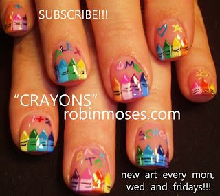 Nail-art by Robin Moses: back to school nail, crayon nail, crayola nails, rainbow crayon nail, pink and black tuxedo nail, pink and black fr...
