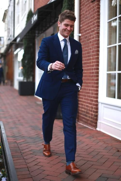Gentsthere's nothing wrong with brown shoes and a blue suit