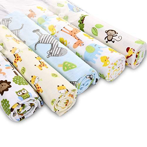 Flannel Baby Blanket with Colorful Animals Unisex