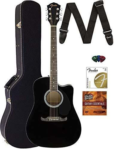 Fender Fa 125ce Dreadnought Cutaway Acoustic Electric Guitar Black Bundle With Hard Case Strap Strings Picks Fender Play Online Lessons And Austin Bazaar Guitar Fender Acoustic Guitar Fender Acoustic