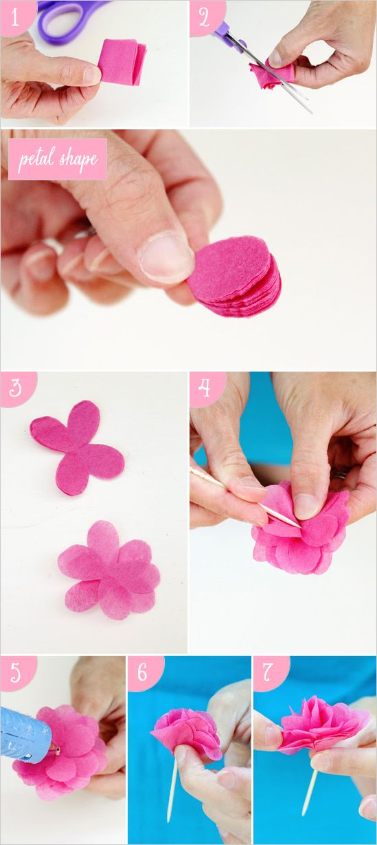 Diy cake crown and paper towel garland tissue paper for Diy paper roses step by step