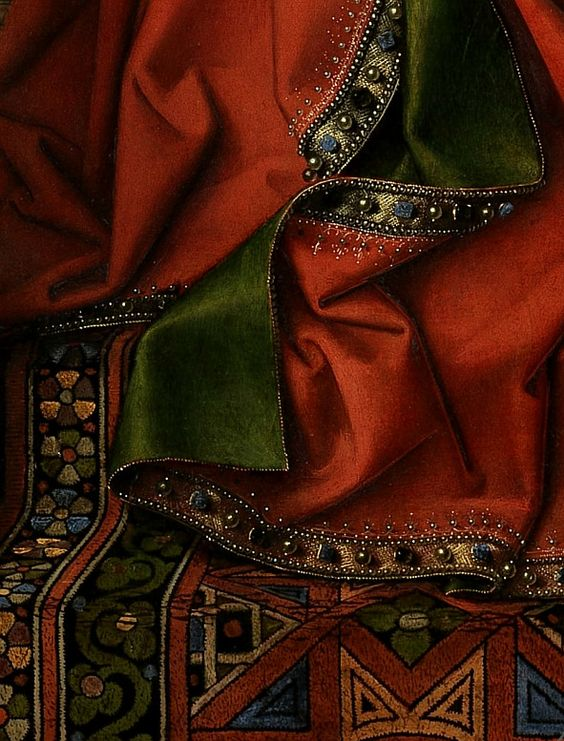 Detail from Jan van Eyck's Madonna with Canon van der Paele, 1436. Groeningemuseum, Bruges.:
