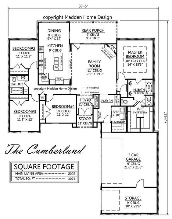 Madden home design cumberland 2092 sq ft floor plans for Madden house plans