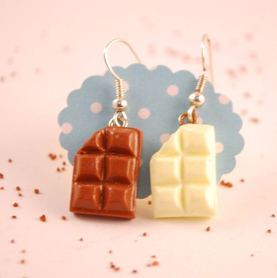 chocolate  earrings  food jewelry by SweetArtMiniatures on Etsy, $9.00