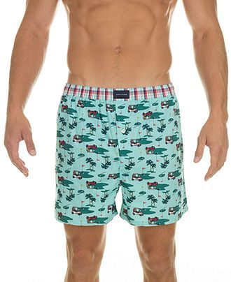 Tommy Hilfiger Golf Carts Print Woven Boxer  - Macy's