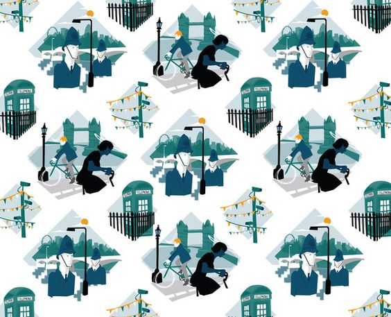 London Fabric Pattern by Kerry Hyndman, via Behance