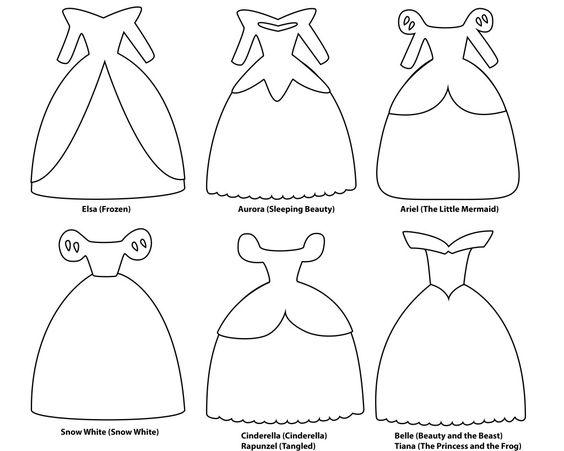 6 De Papel Modelos Vestido Corte Durante 8 Personagens Princesas Da Silhouette Cameo