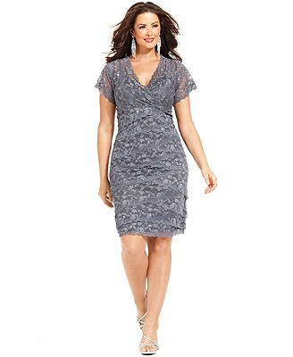 Marina plus size cap sleeve lace cocktail dress formal for Plus size shapewear for wedding dresses