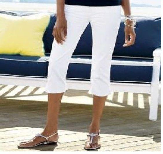 Chaps Womens Plus Solid Capri slim fit white stretch cotton blend size 24W NEW  16.99 http://www.ebay.com/itm/-/232066757048?