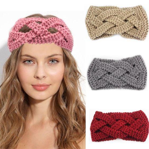 Ladies Crochet Turban Knitted Cross Knotted Headband Winter Ear Warmer Hair Band