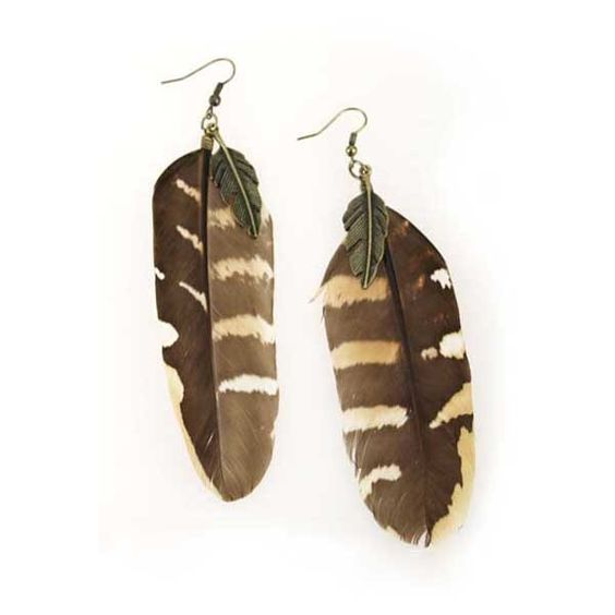 Coffee Feather Earrings ❤ liked on Polyvore