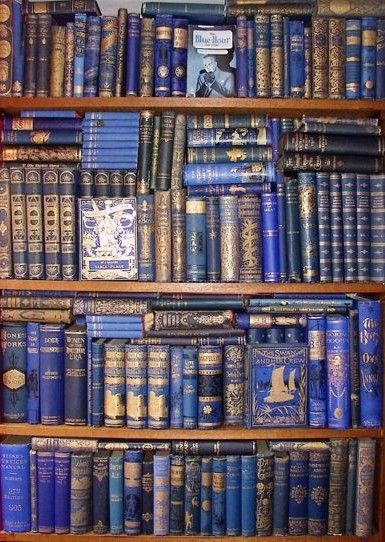 Vintage Books in Blue - Book Cases and Reading Spaces: