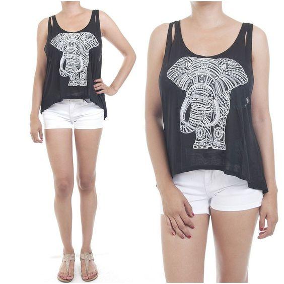 ebclo- Soft Black Knit Semi Sheer Tee Elephant Graphic Sleeveless Tank Top New #ebclo #GraphicTee $13.00 Free Domestic Shipping
