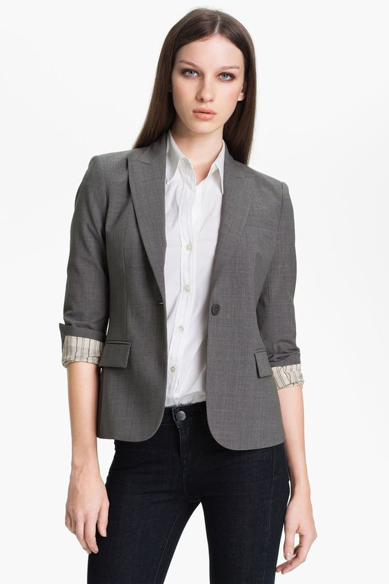 """'Gabe B - Tailor' Jacket by Theory on @nordstrom_rack  A high-notched lapel and single-button closure style a tailored, stretch wool jacket. Light Heather - Approx. length from shoulder: 25"""" - Measurements taken from size 8 and may vary slightly by size - Front flap pockets; besom chest pocket - Three-button cuffs - Back vent - Fully lined, with padded shoulders - Wool/spandex; dry clean"""