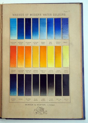 Page from antique winsor newton watercolor sample book for Watercolor painting samples