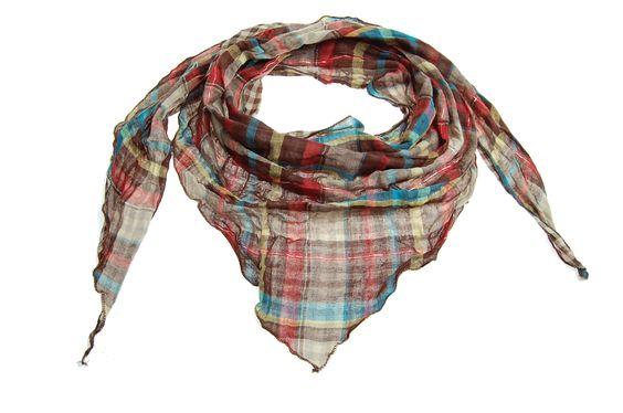 Checked triangular multicoloured brown scarf - Maya: Checked Triangular, Scarf Maya, Multicoloured Brown, Triangular Multicoloured