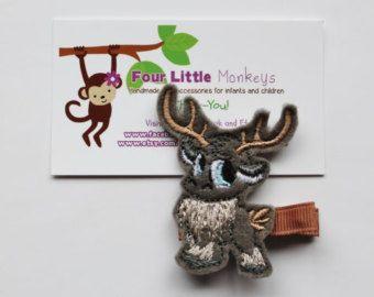 Felt Embroidered Deer/Reindeer Hair Clip